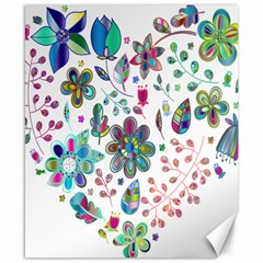 Prismatic Psychedelic Floral Heart Background Canvas 8  X 10