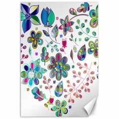 Prismatic Psychedelic Floral Heart Background Canvas 20  X 30