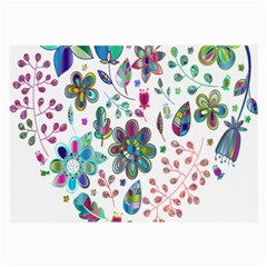 Prismatic Psychedelic Floral Heart Background Large Glasses Cloth