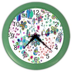 Prismatic Psychedelic Floral Heart Background Color Wall Clocks