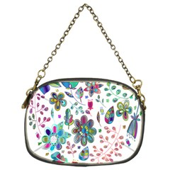 Prismatic Psychedelic Floral Heart Background Chain Purses (two Sides)