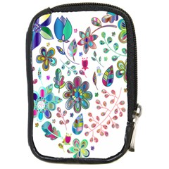 Prismatic Psychedelic Floral Heart Background Compact Camera Cases