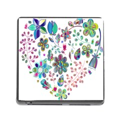 Prismatic Psychedelic Floral Heart Background Memory Card Reader (square)