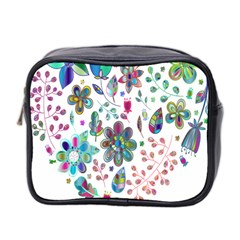 Prismatic Psychedelic Floral Heart Background Mini Toiletries Bag 2 Side