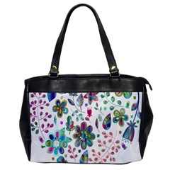 Prismatic Psychedelic Floral Heart Background Office Handbags