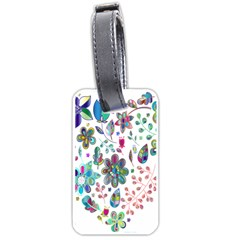 Prismatic Psychedelic Floral Heart Background Luggage Tags (two Sides)