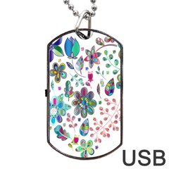 Prismatic Psychedelic Floral Heart Background Dog Tag Usb Flash (two Sides)