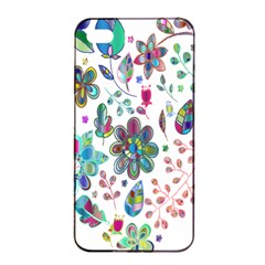 Prismatic Psychedelic Floral Heart Background Apple Iphone 4/4s Seamless Case (black)
