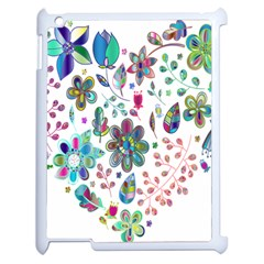 Prismatic Psychedelic Floral Heart Background Apple Ipad 2 Case (white)