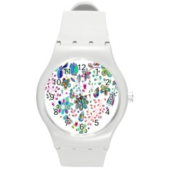 Prismatic Psychedelic Floral Heart Background Round Plastic Sport Watch (m)