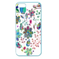 Prismatic Psychedelic Floral Heart Background Apple Seamless Iphone 5 Case (color)