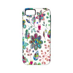 Prismatic Psychedelic Floral Heart Background Apple Iphone 5 Classic Hardshell Case (pc+silicone)