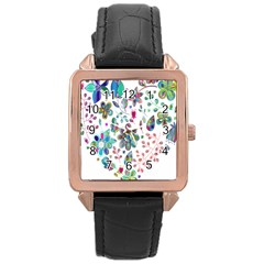 Prismatic Psychedelic Floral Heart Background Rose Gold Leather Watch