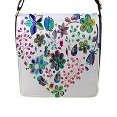 Prismatic Psychedelic Floral Heart Background Flap Messenger Bag (l)
