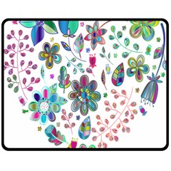Prismatic Psychedelic Floral Heart Background Double Sided Fleece Blanket (medium)