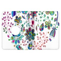 Prismatic Psychedelic Floral Heart Background Kindle Fire Hdx Flip 360 Case