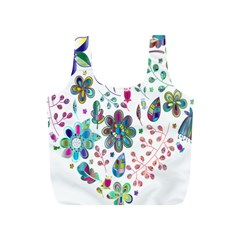 Prismatic Psychedelic Floral Heart Background Full Print Recycle Bags (s)