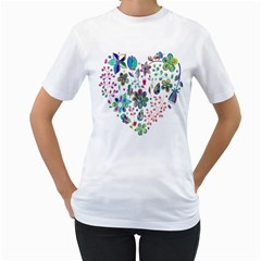 Prismatic Psychedelic Floral Heart Background Women s T Shirt (white)
