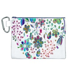 Prismatic Psychedelic Floral Heart Background Canvas Cosmetic Bag (xl)