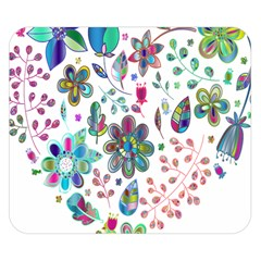 Prismatic Psychedelic Floral Heart Background Double Sided Flano Blanket (small)