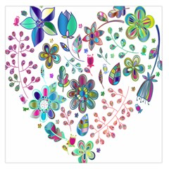 Prismatic Psychedelic Floral Heart Background Large Satin Scarf (square)