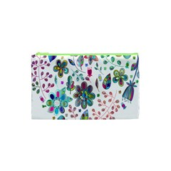 Prismatic Psychedelic Floral Heart Background Cosmetic Bag (xs)