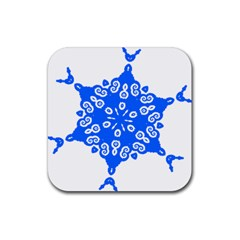 Snowflake Art Blue Cool Polka Dots Rubber Coaster (square)