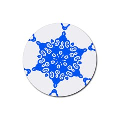 Snowflake Art Blue Cool Polka Dots Rubber Coaster (round)
