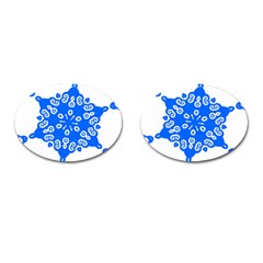 Snowflake Art Blue Cool Polka Dots Cufflinks (oval)