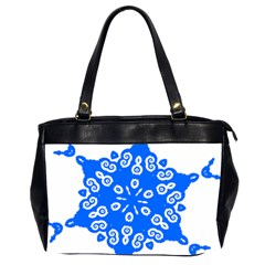 Snowflake Art Blue Cool Polka Dots Office Handbags (2 Sides)
