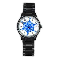 Snowflake Art Blue Cool Polka Dots Stainless Steel Round Watch