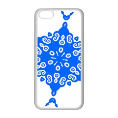 Snowflake Art Blue Cool Polka Dots Apple Iphone 5c Seamless Case (white)