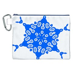 Snowflake Art Blue Cool Polka Dots Canvas Cosmetic Bag (xxl)