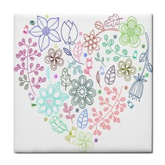 Prismatic Neon Floral Heart Love Valentine Flourish Rainbow Tile Coasters