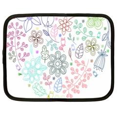 Prismatic Neon Floral Heart Love Valentine Flourish Rainbow Netbook Case (xl)