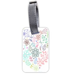 Prismatic Neon Floral Heart Love Valentine Flourish Rainbow Luggage Tags (two Sides)