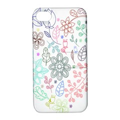 Prismatic Neon Floral Heart Love Valentine Flourish Rainbow Apple Iphone 4/4s Hardshell Case With Stand