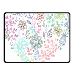 Prismatic Neon Floral Heart Love Valentine Flourish Rainbow Double Sided Fleece Blanket (small)