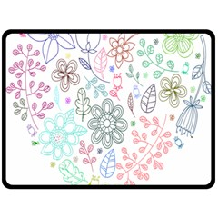 Prismatic Neon Floral Heart Love Valentine Flourish Rainbow Double Sided Fleece Blanket (large)
