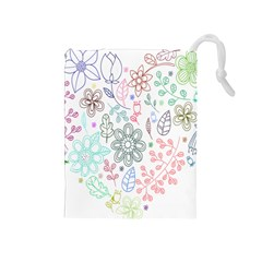 Prismatic Neon Floral Heart Love Valentine Flourish Rainbow Drawstring Pouches (medium)