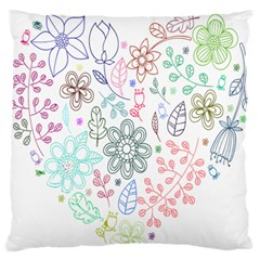 Prismatic Neon Floral Heart Love Valentine Flourish Rainbow Large Flano Cushion Case (two Sides)
