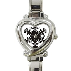 Snowflakes Black Heart Italian Charm Watch