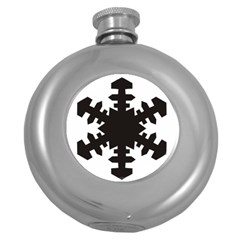 Snowflakes Black Round Hip Flask (5 Oz)