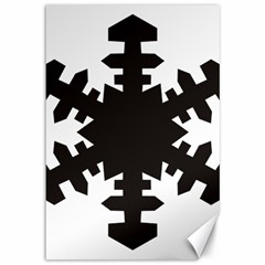 Snowflakes Black Canvas 12  X 18