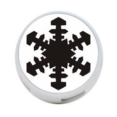 Snowflakes Black 4 Port Usb Hub (one Side)