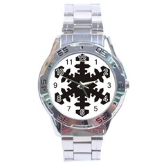 Snowflakes Black Stainless Steel Analogue Watch