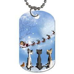 Christmas, Cute Cats Looking In The Sky To Santa Claus Dog Tag (one Side)