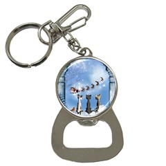 Christmas, Cute Cats Looking In The Sky To Santa Claus Button Necklaces