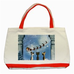 Christmas, Cute Cats Looking In The Sky To Santa Claus Classic Tote Bag (red)