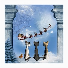 Christmas, Cute Cats Looking In The Sky To Santa Claus Medium Glasses Cloth (2 Side)